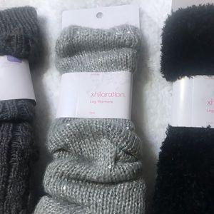 Pink, gray., sucker and black leg warmers